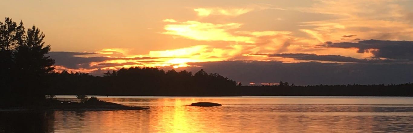 Sunrise on lake.