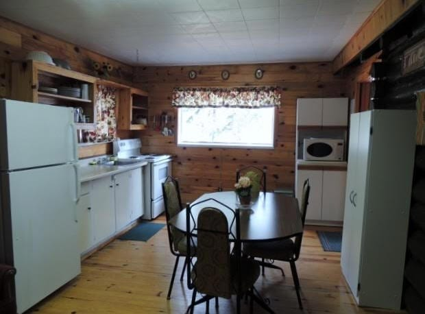 Cabin kitchen and dining table.