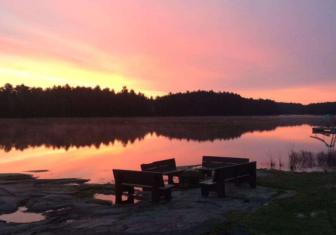 Sunset on lake.