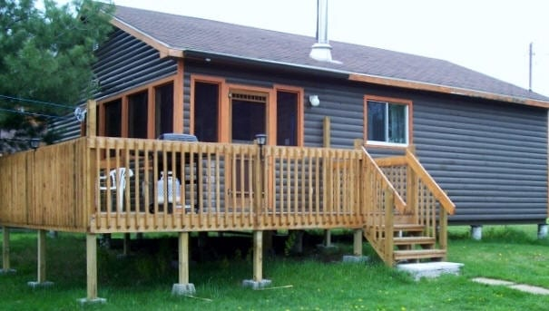 Cabin 9 patio deck with gas grill